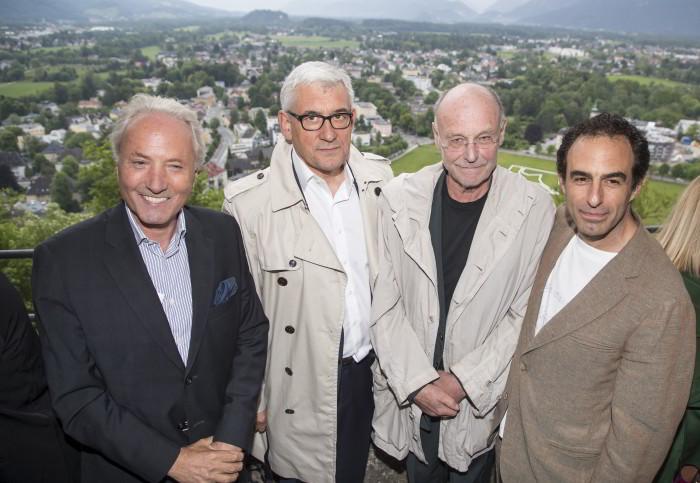 Eröffnung: v.l. Karl Gollegger, Walter Smerling, Anselm Kiefer, Paul Wallach / Foto: Andreas Kolarik